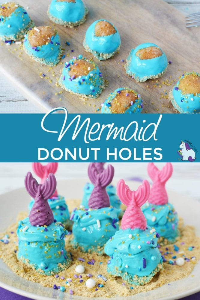 Donut holes decorated for a mermaid party