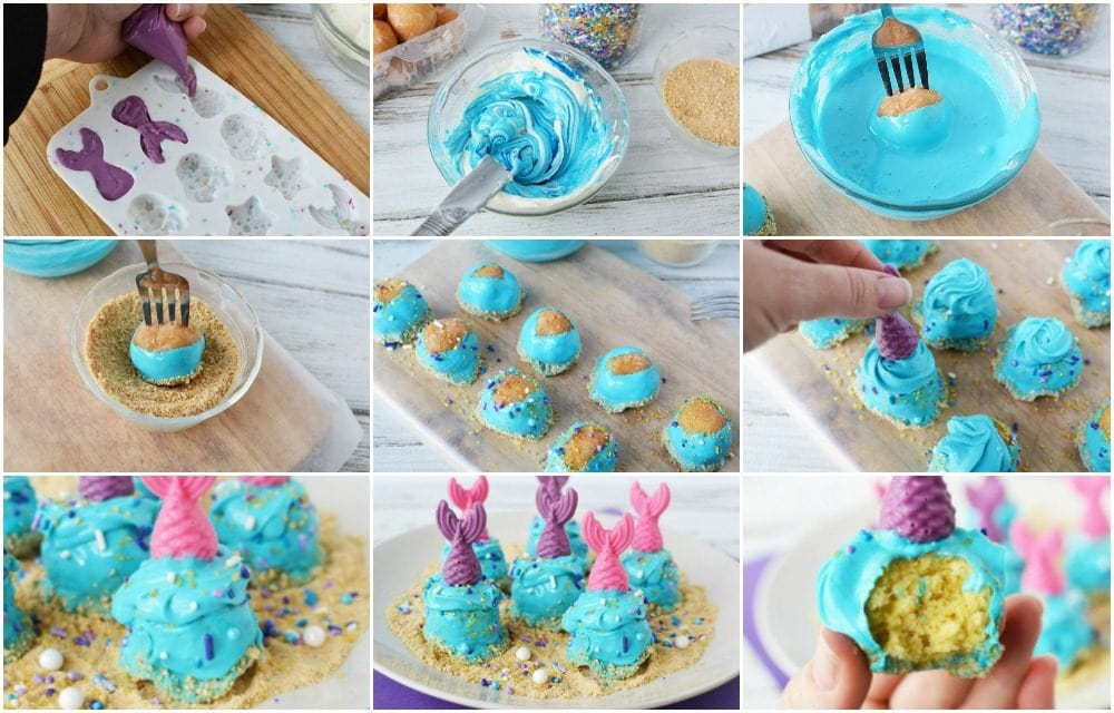 Steps to make mermaid donut holes.