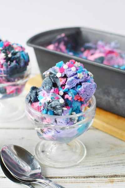 Scoop of space ice cream in a serving dish
