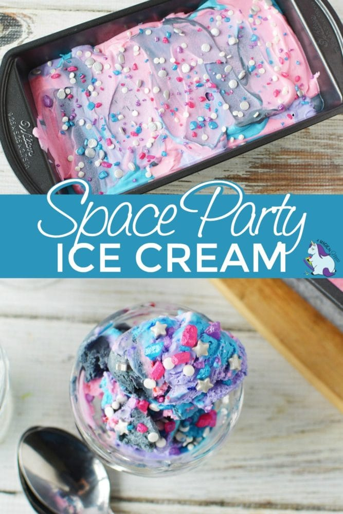 Space ice cream in a loaf pan and overhead shot