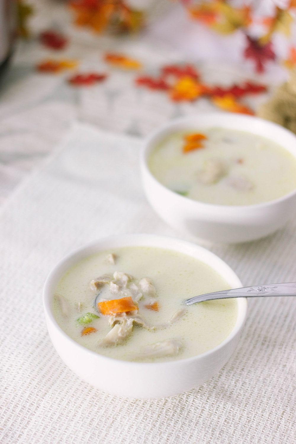 Two bowls of low-carb cream of chicken soup