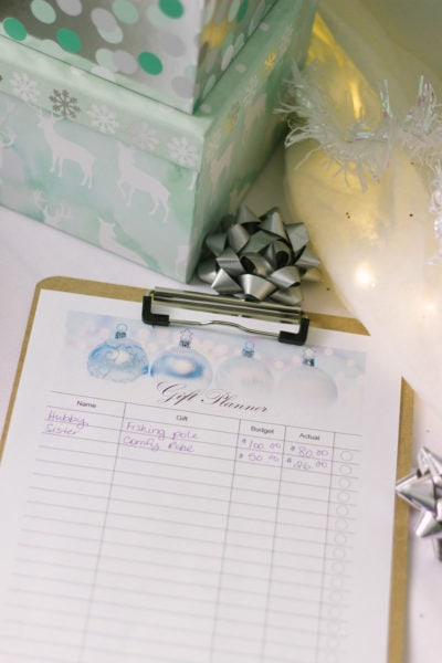 Gift tracker sheet