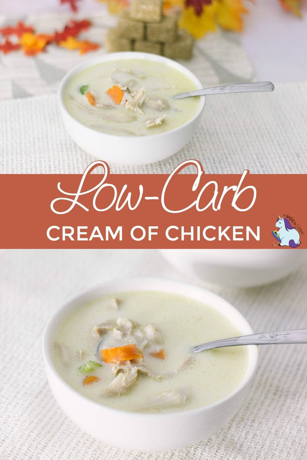 Cream of chicken soup with carrots in a bowl