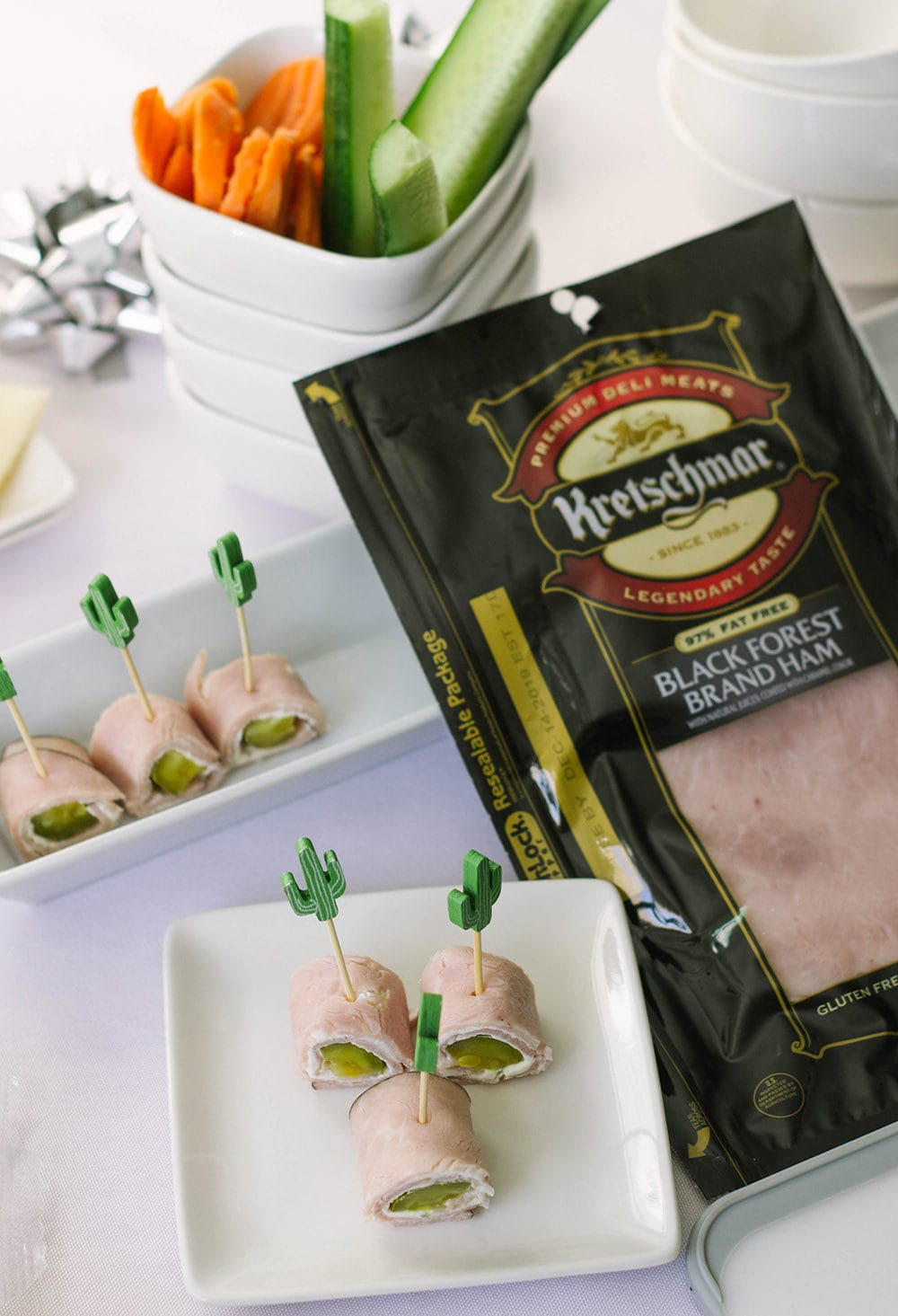Ham and pickle rolls