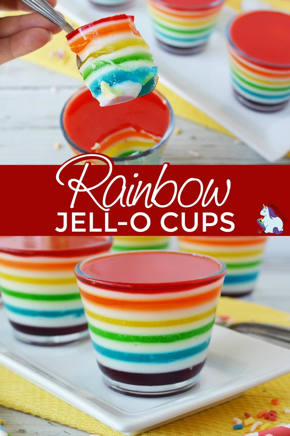 Jell-o layered into cups in a rainbow