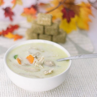 Cream of chicken soup in a bowl.