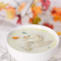 Bowl of chicken soup with fall leaves in the background