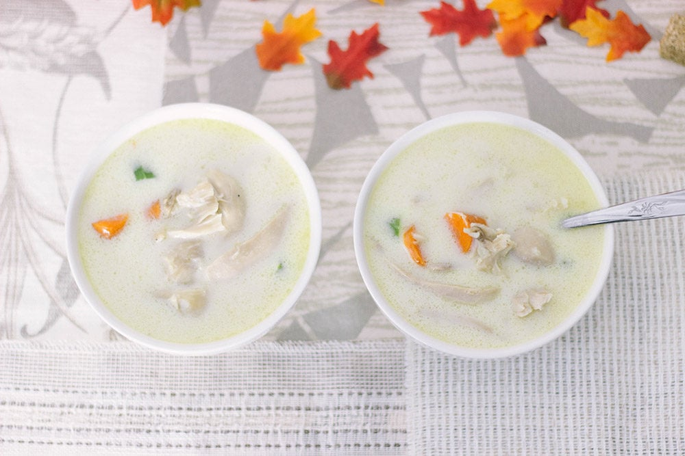 Two bowls of low carb chicken soup overhead shot