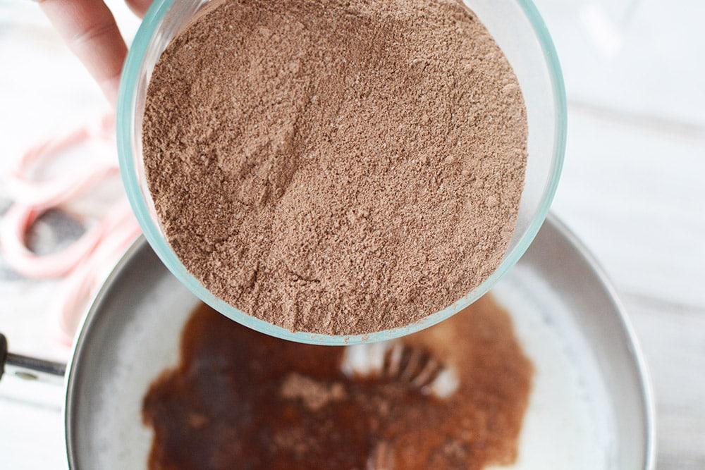 Hot chocolate mix into milk