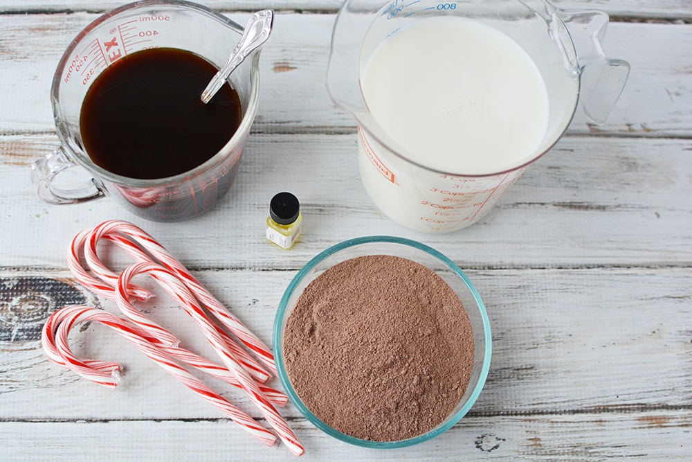 Ingredients for peppermint mocha