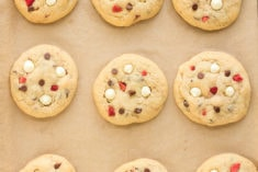 Baked cookies on cookie sheet overhead shot