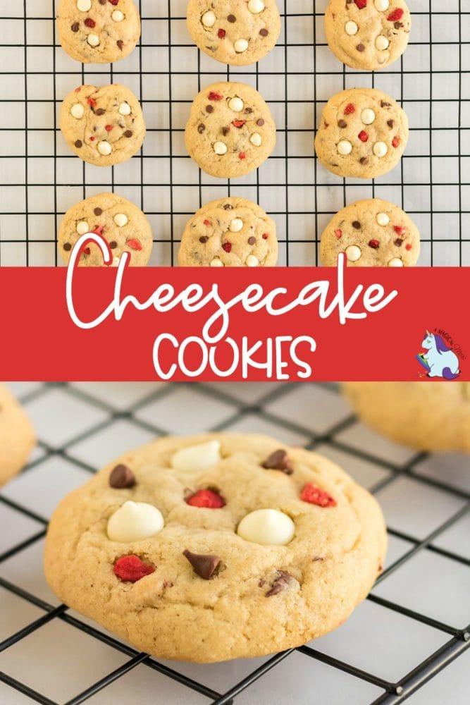 Strawberry cheesecake cookies on rack