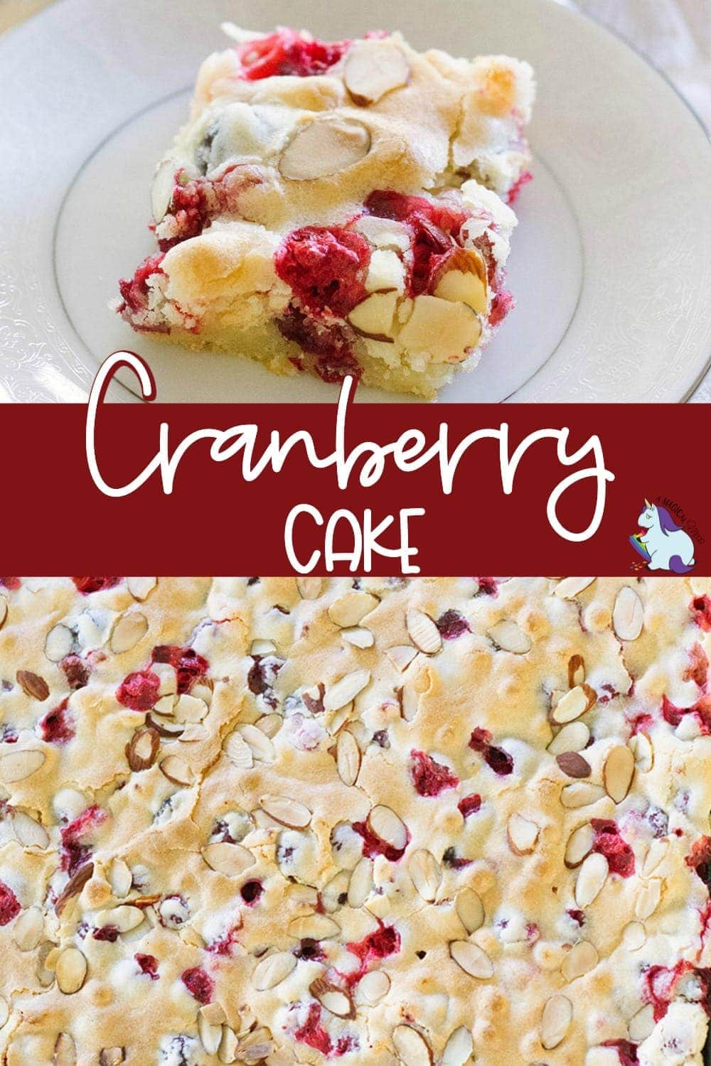 Slice of cranberry almond cake and the sheet pan full of cake