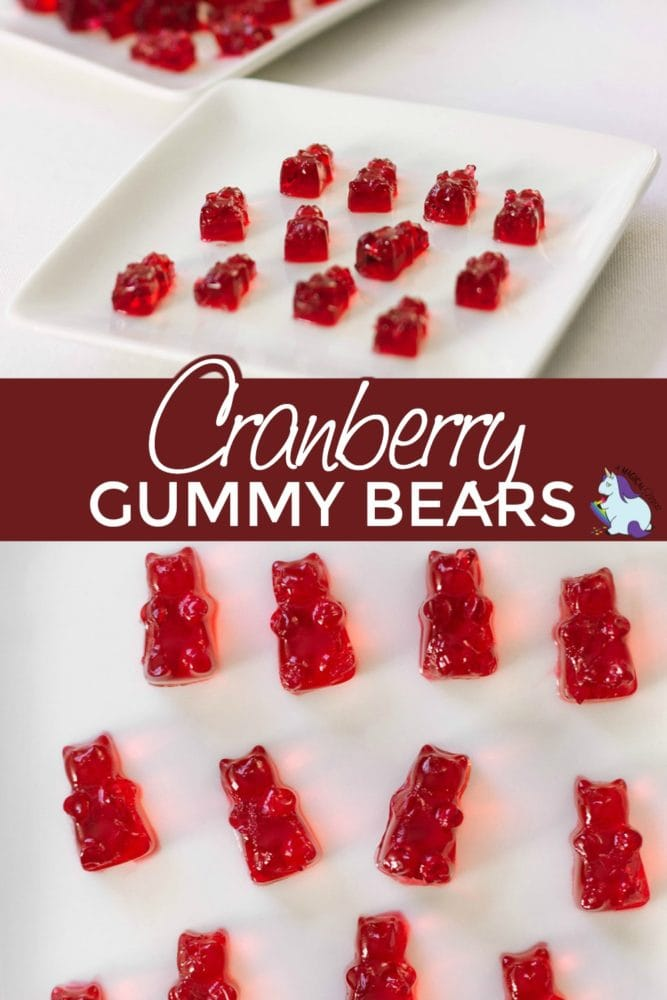 Cranberry gummy bears on a plate