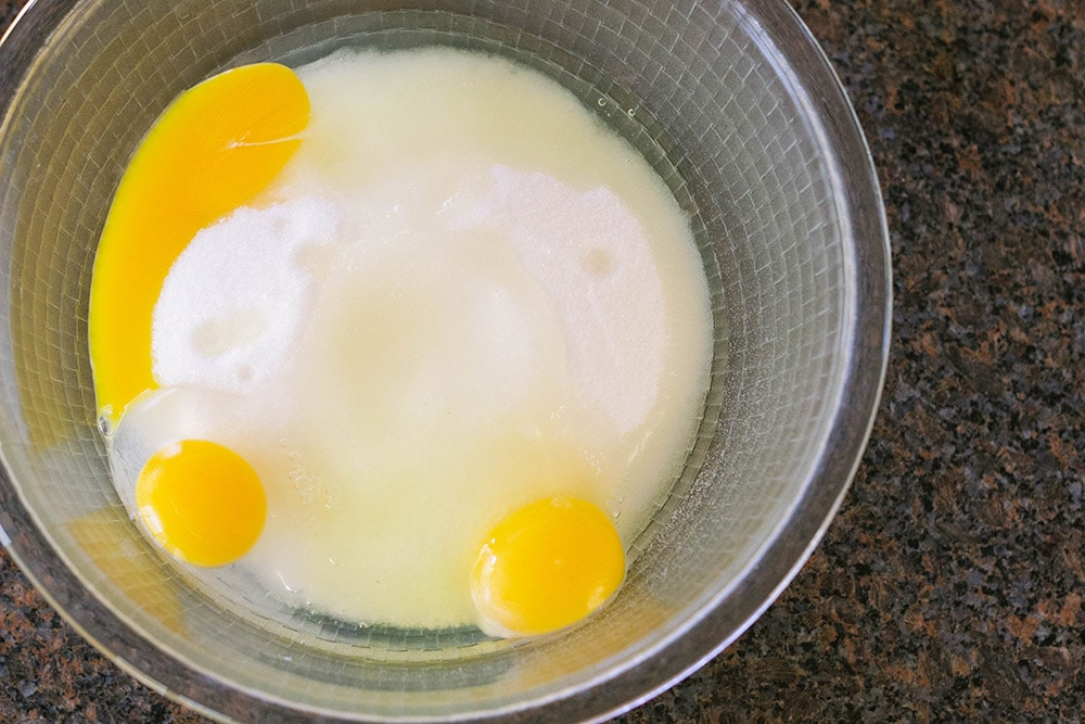 Eggs and sugar in a bowl