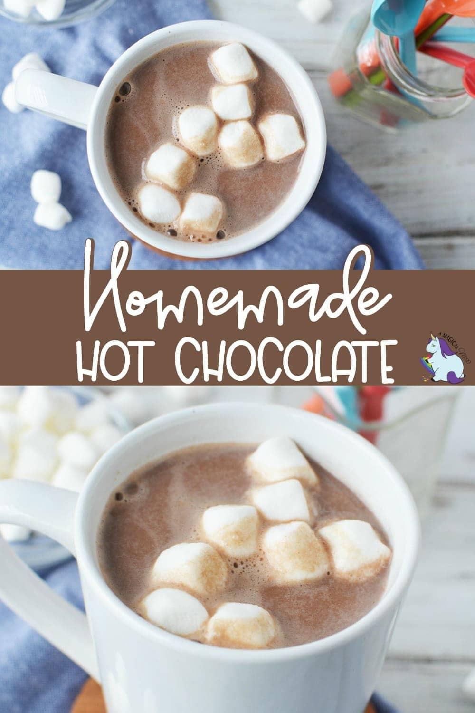 Overhead shot of mug full of hot chocolate