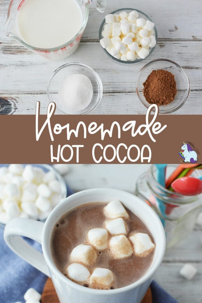 Ingredients to make hot chocolate and mug full of hot cocoa