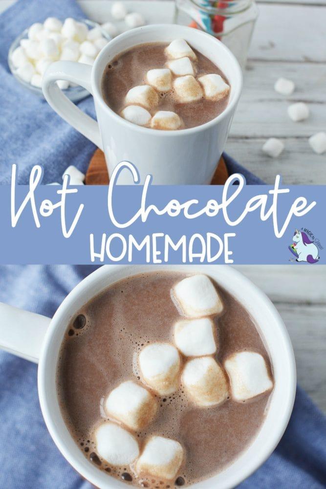 Mug full of homemade hot chocolate with marshmallows