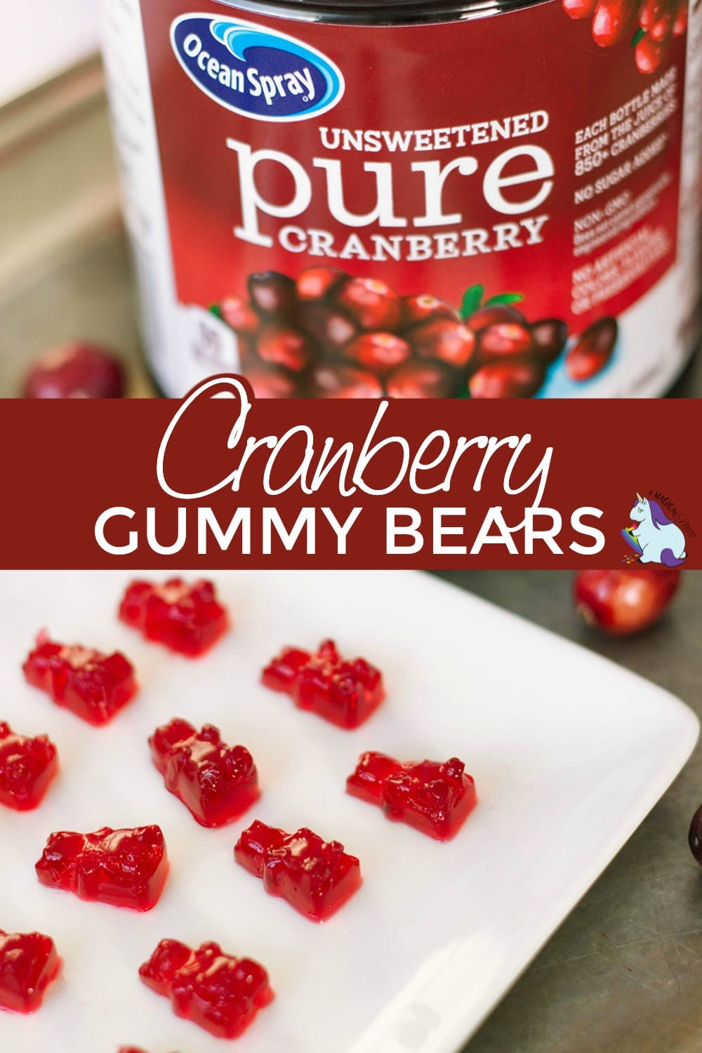 Cranberry juice bottle and plate of gummy bears