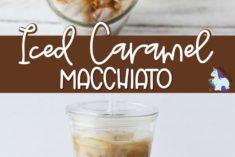 Iced caramel macchiato drink