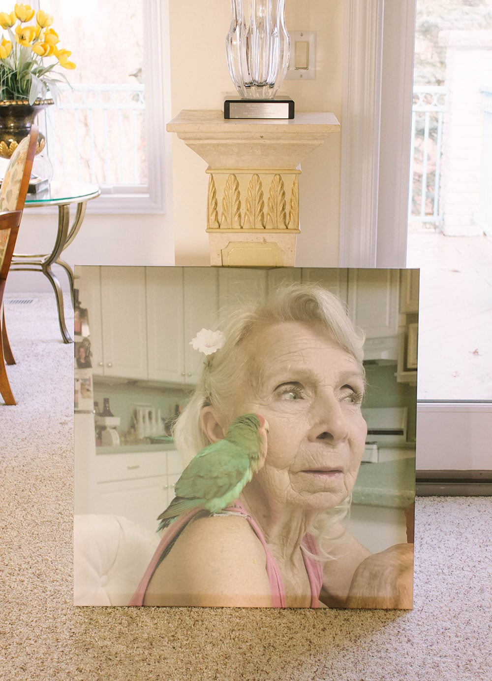 Large canvas print of gram and her lovebird
