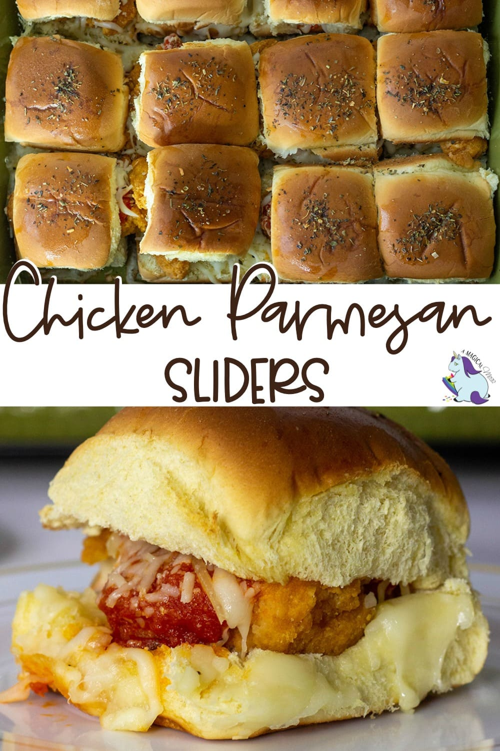 Chicken parmesan sliders on a plate and in a dish