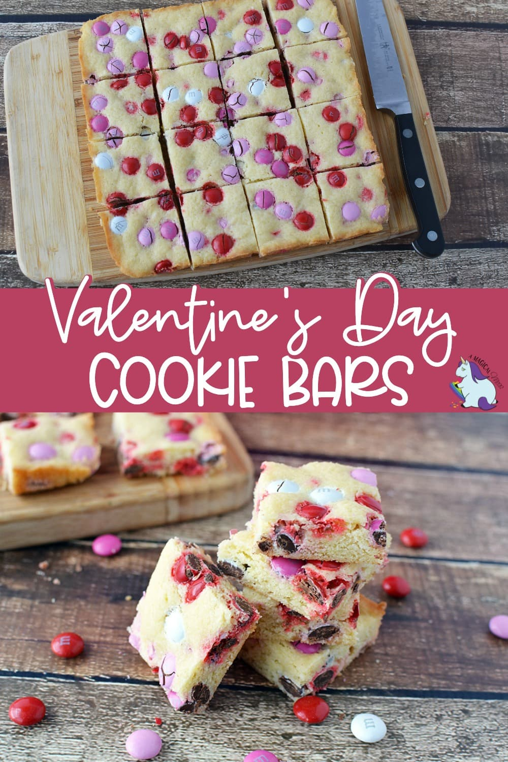 Cookie bars with Valentine's Day colored candies