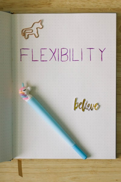 The word FLEXIBILITY written in a dot journal