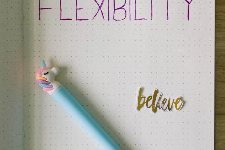 The word FLEXIBILITY written in a dot journal