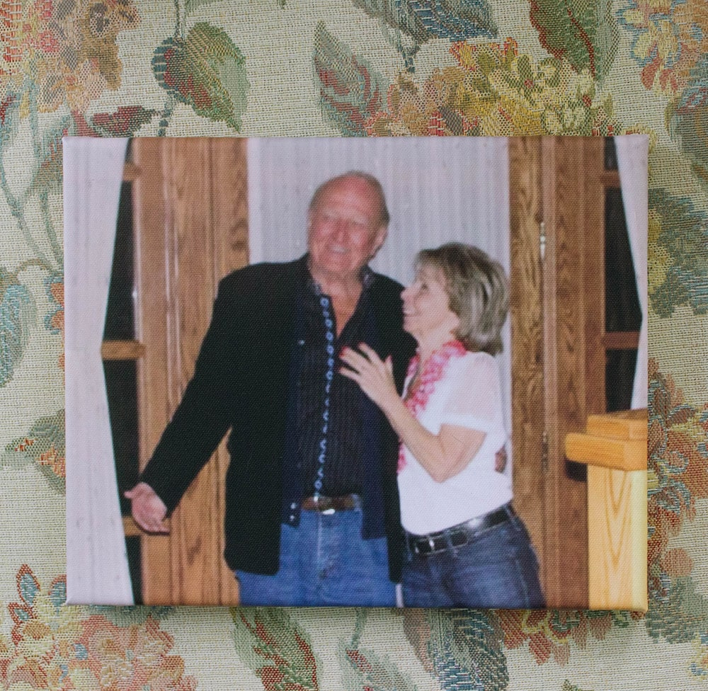 Gram and papa in a small canvas print
