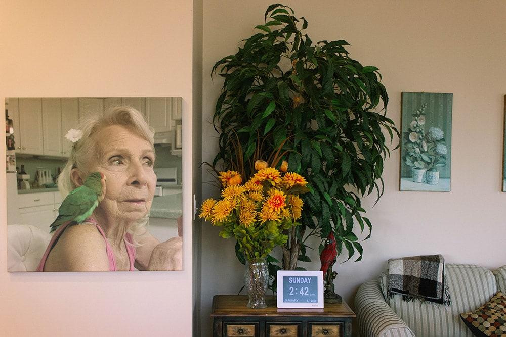 Gram and bird canvas hanging in kitchen