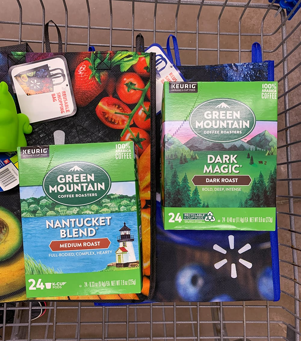 Green Mountain boxes in the Walmart cart