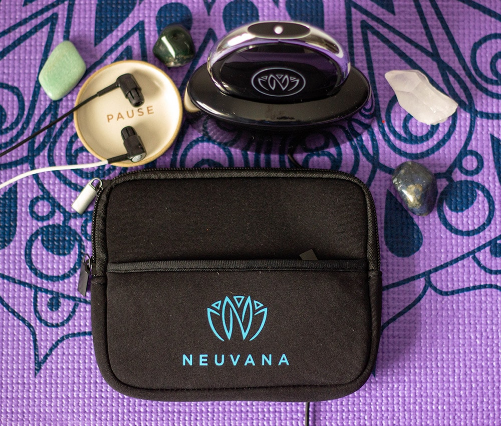 Zen unit on a yoga mat with stones