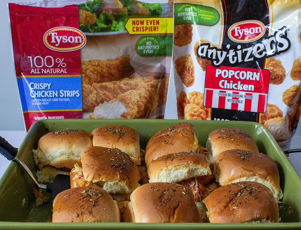 Chicken parmesan sliders in front of Tyson bags