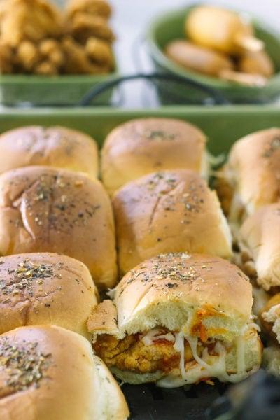 Chicken parmesan sliders in dish