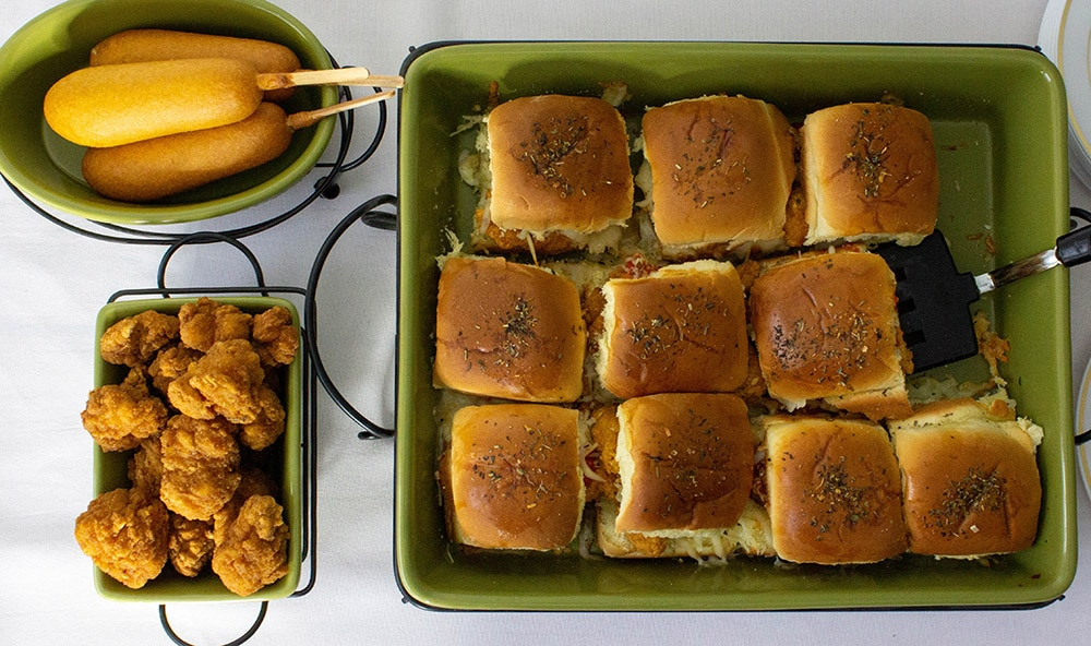 Overhead shot of game day snacks