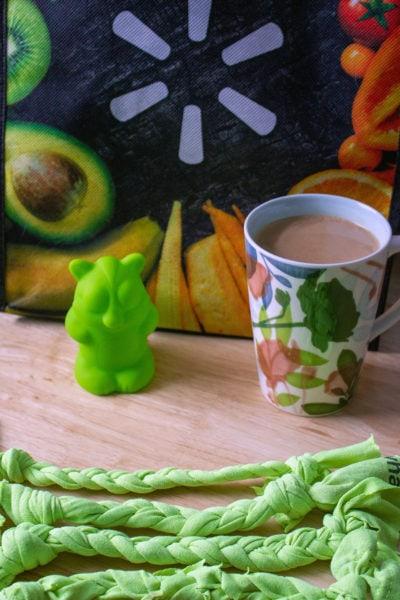 Dog toy, coffee, and walmart bag