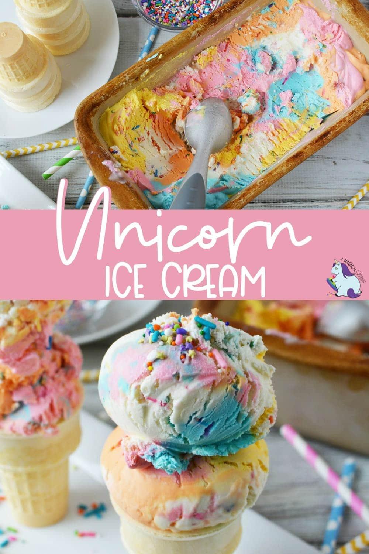 Rainbow ice cream for a unicorn party