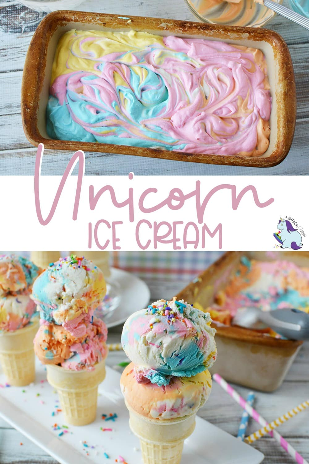 Unicorn ice cream in a loaf pan and in cones