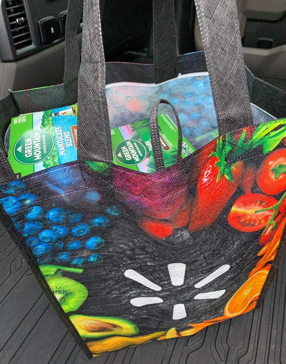Walmart bag in truck