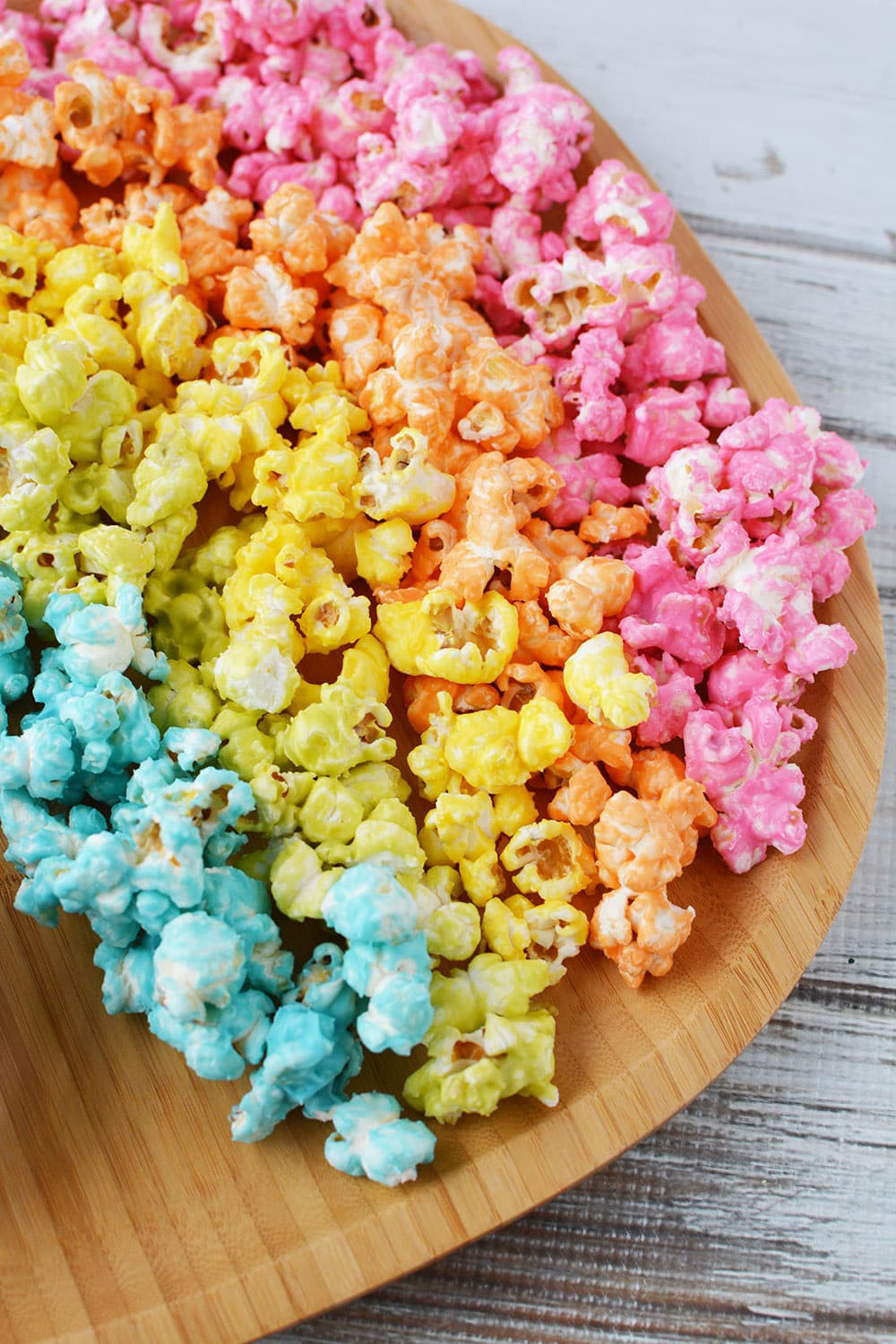 Rainbow popcorn on a serving platter