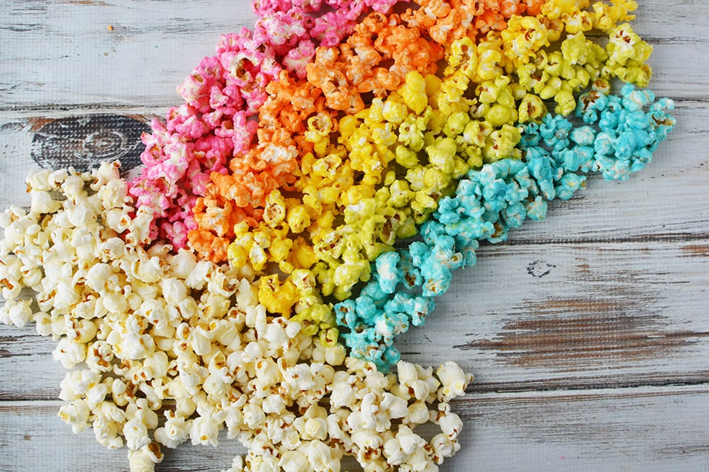 Popcorn displayed in a rainbow