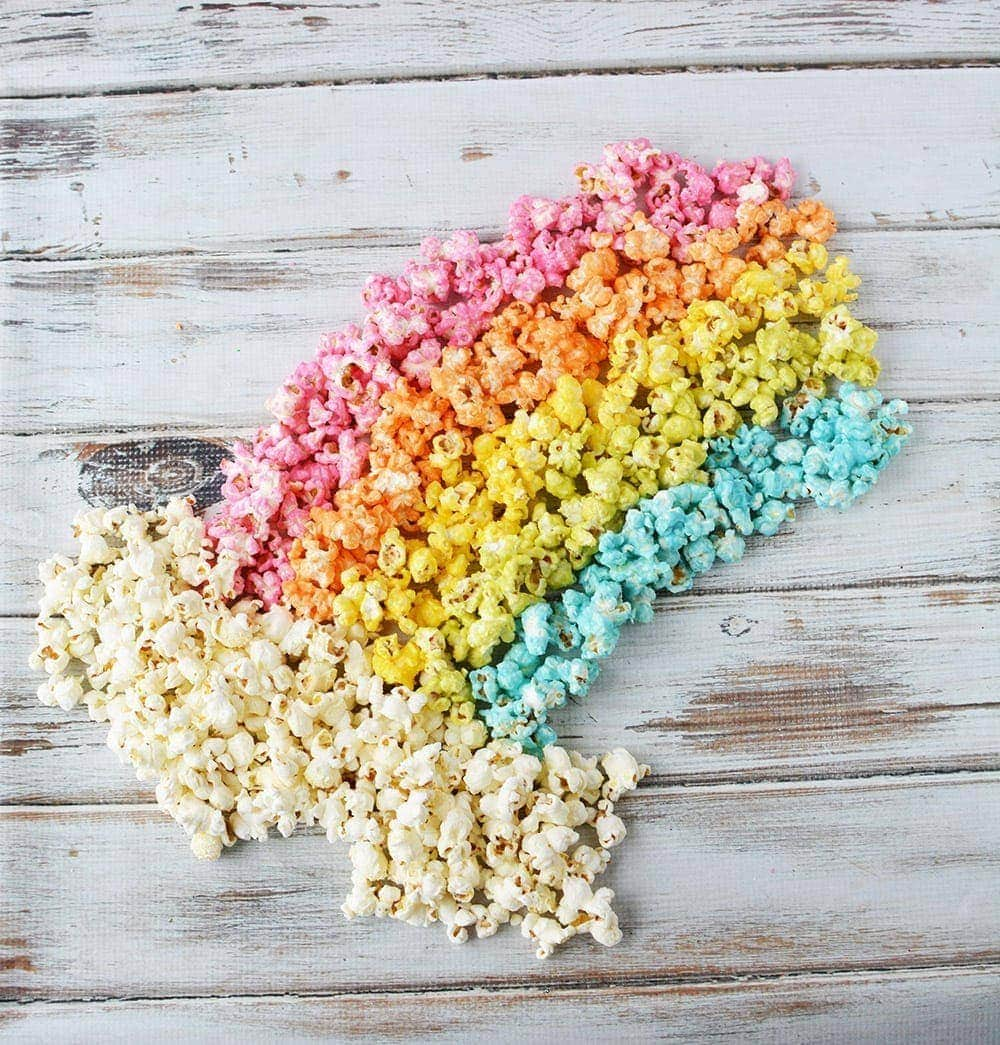 Rainbow popcorn with clouds
