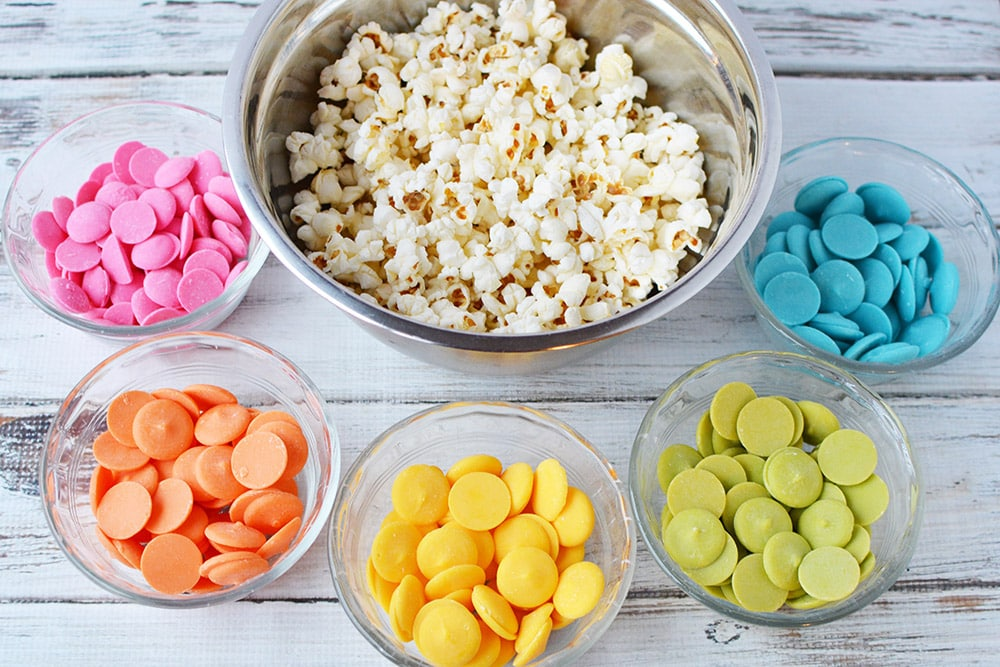 What you need for rainbow popcorn