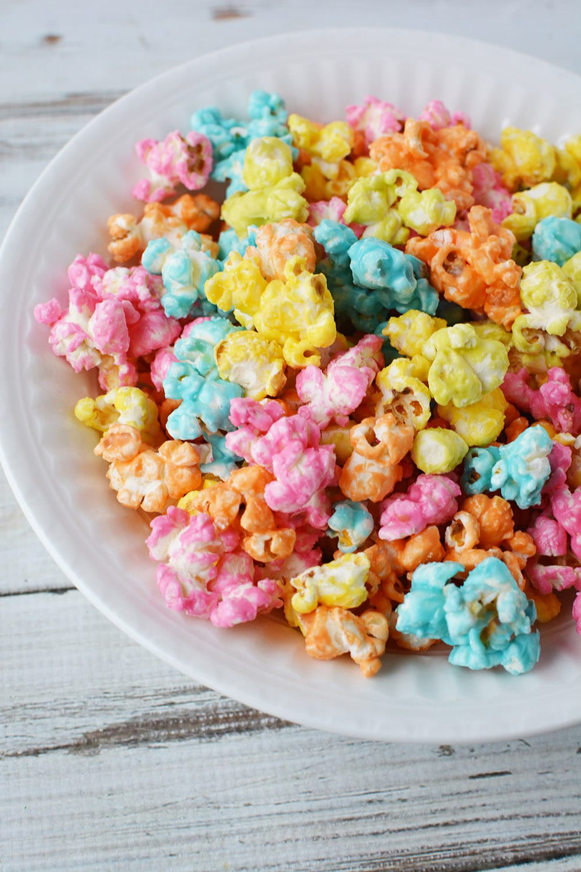 Unicorn popcorn mixed into a bowl