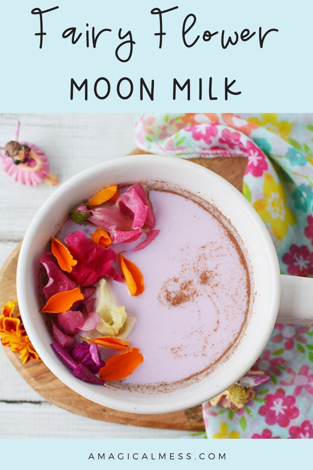 Fairy moon milk with cinnamon and flowers on top