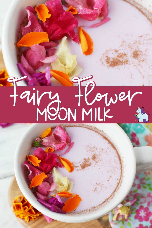 edible flowers on top of a mug of pink milk