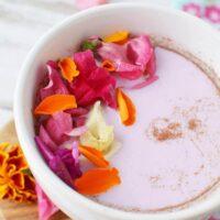 closeup of a mug filled with fairy flower moon milk