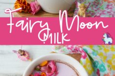mugs of moon milk with flowers on top