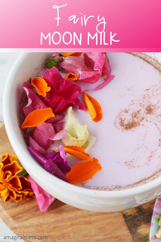 mug of moon milk with flowers